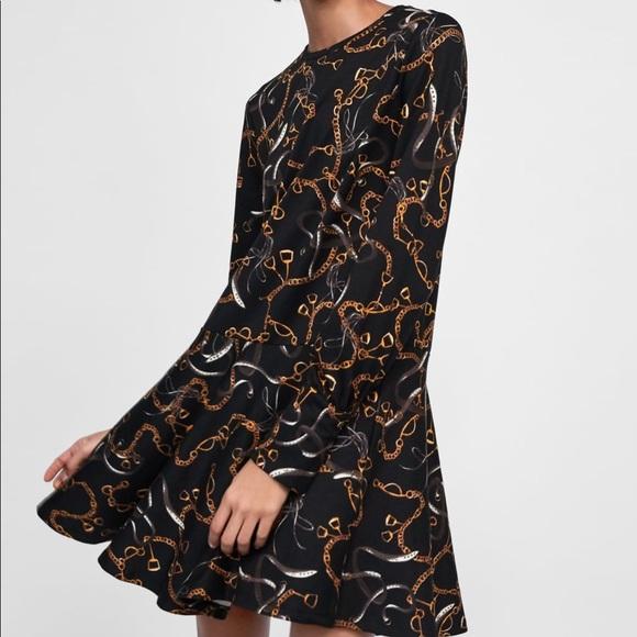 ad9686e15a Zara Dresses | Nwt Chain Print Ruffled Mini Dress Xl Xlarge | Poshmark